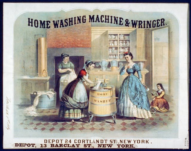 Advertisement for an antique washing machine. 19th century.
