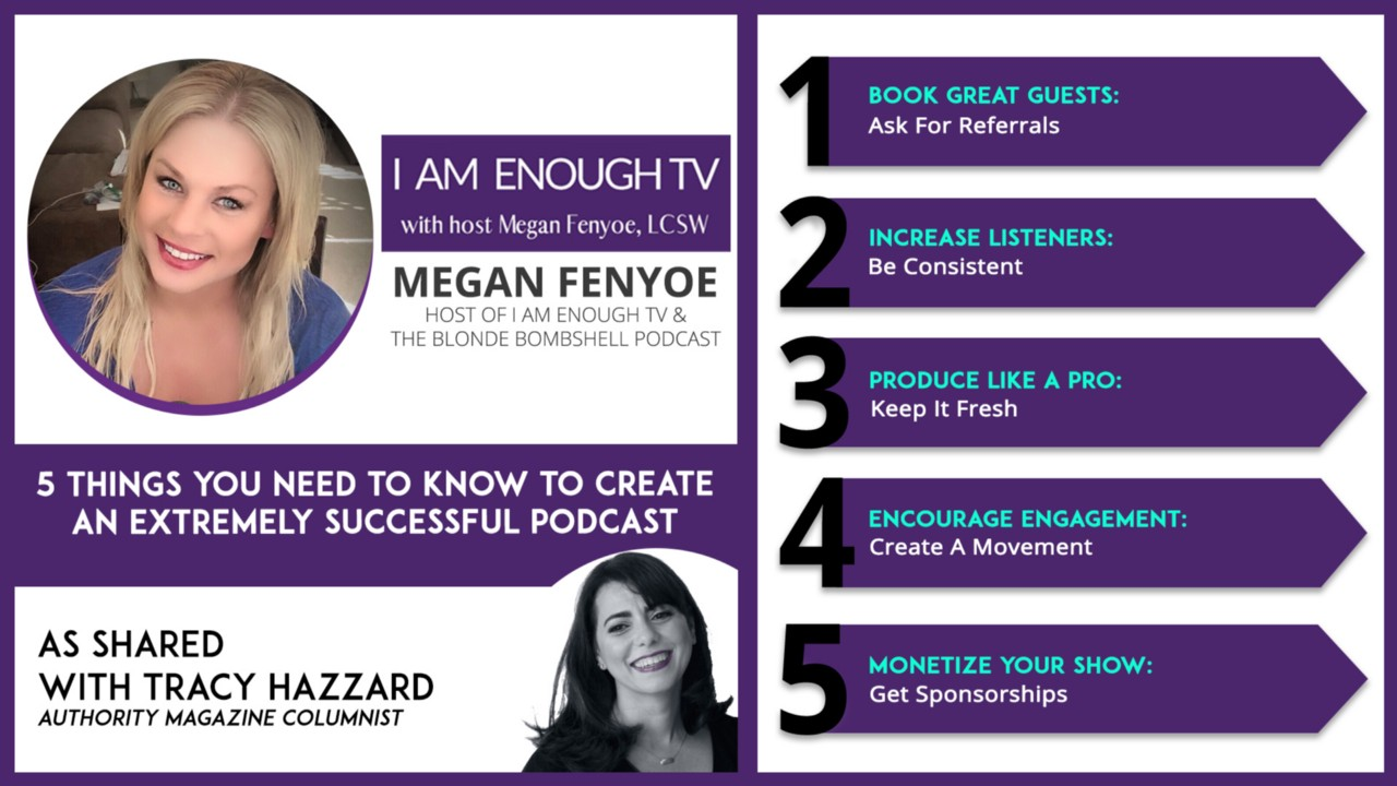 Tracy Hazzard, Authority Magazine, Medium, BuzzFeed, Megan Fenyoe, I Am Enough TV, The Blonde Bombshell