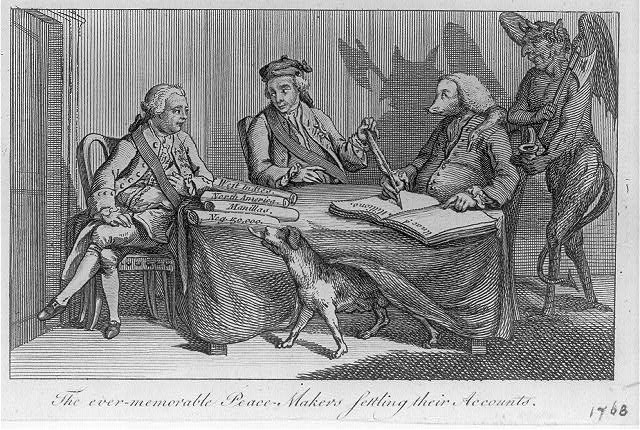 Print shows the Duke of Bedford, the Earl of Bute, and Lord Holland portrayed as a fox, with the Devil behind him, seated at