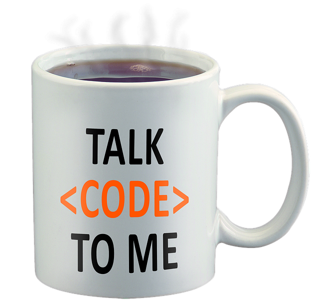 Coffee cup with message Talk Code to Me