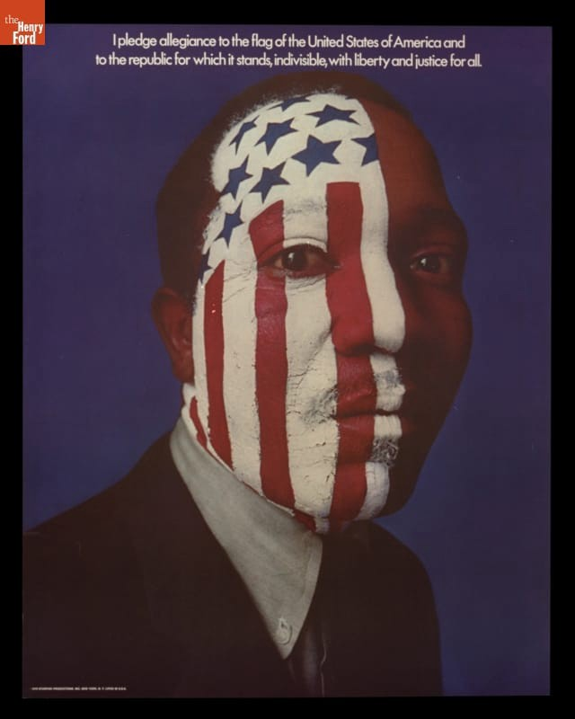 Black man's face with red & white stripes/blue stars painted on it; excerpts from the Pledge of Allegiance at top of poster.