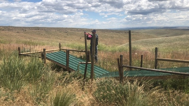 """Roger Gill of the WSA marks the pole of a """"guzzler,"""" a wildlife watering system, so it can be more easily seen from far away."""