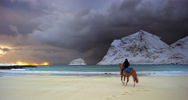 An overcast sunrise or sunset is seen to the left of the picture. Snow or sand covered mounds rise in the right of the picture. A horse rider is seen on their horse on a beach with aquamarine colored water in the middle.