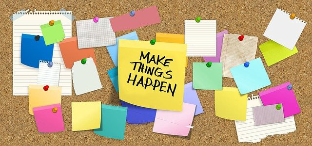"""Make Things Happen,"" written on a stick it note. Image under the title, ""How to start living frugally in 2021."""