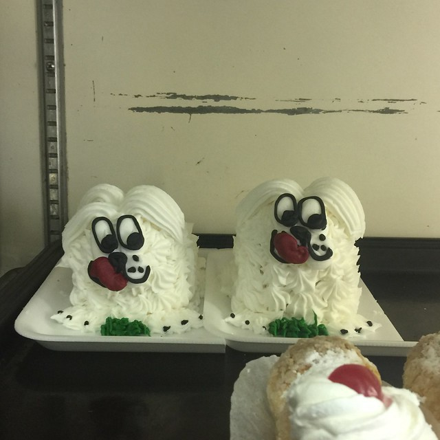 Two super cute devil dogs, frosted to beat the band. Did I mention they are super cute?