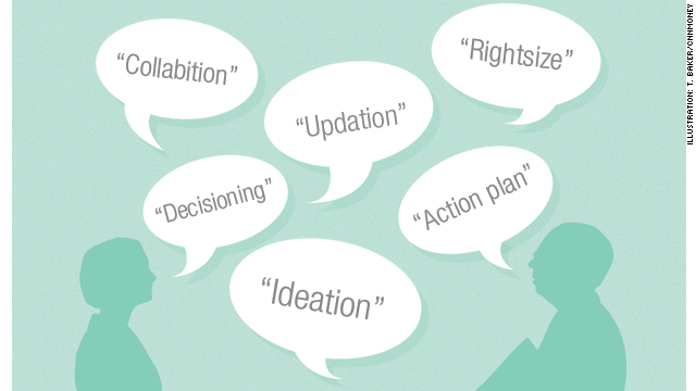 Illustration of thought bubbles with buzzwords and jargon