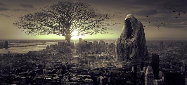 Surreal landscape with tree and statue and city