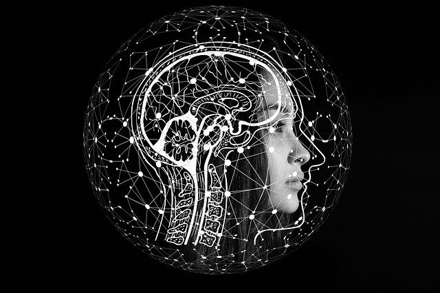 Woman with brain diagram drawn over her skull