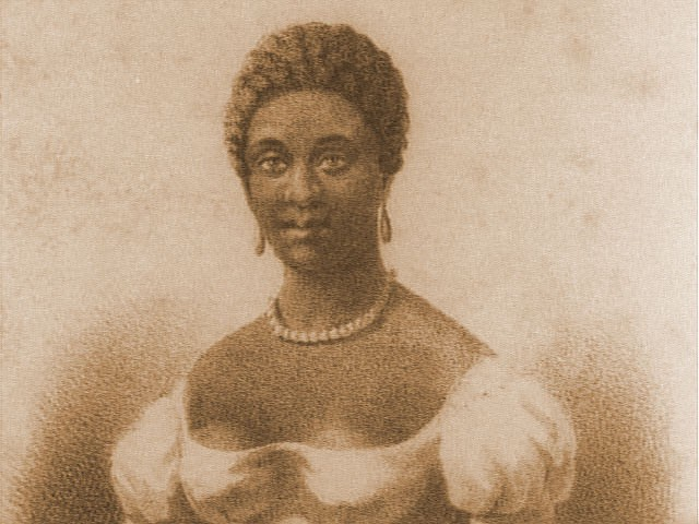 1837 drawing of Phillis Wheatley in closeup. She has brown skin, short tightly coiled hair, a white dress, teardrop earrings.