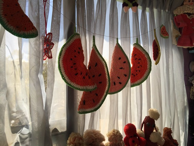 Crochet watermelon slices at the World Famous Crochet Museum in Joshua Tree, California