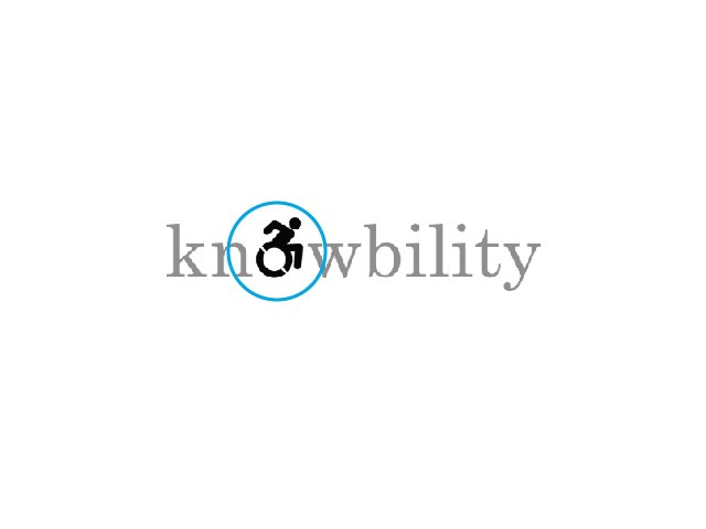 "Knowbility logo altered to emphasize the Accessible Icon replacing the ""o""."