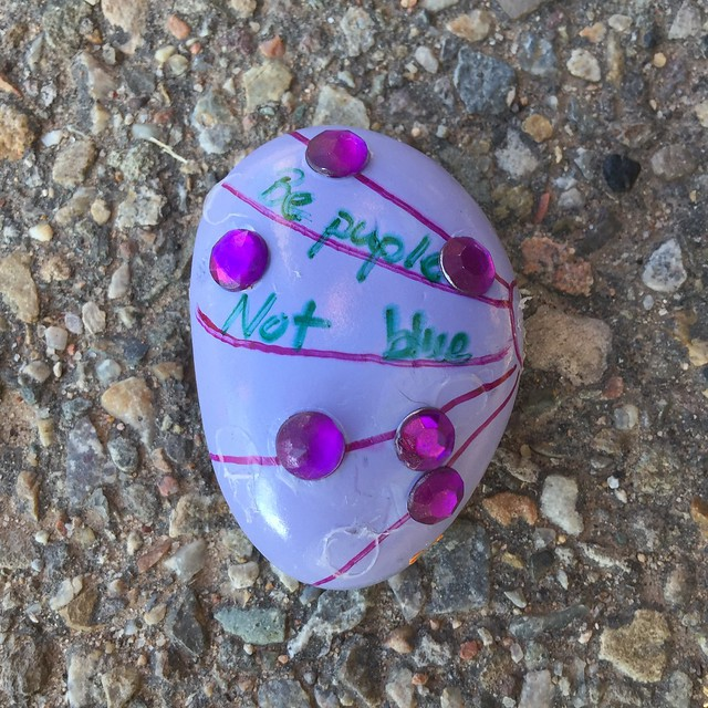 An awesome purple rock from the #KindnessRocksProject, found along the Alameda Drain walking path in Albuquerque, New Mexico