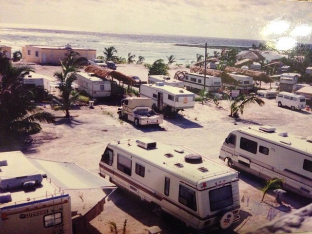 An old photo of an RV Park on the Mayan Riviera of Mexico overlooking the Carribean