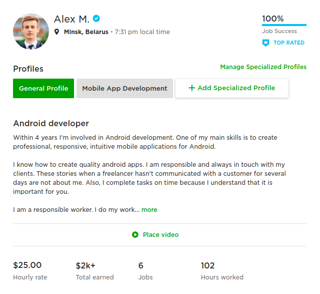 How I Became Top Rated Upwork Android Freelancer And Earned First 2000 By Alex Misiulia Androidpub