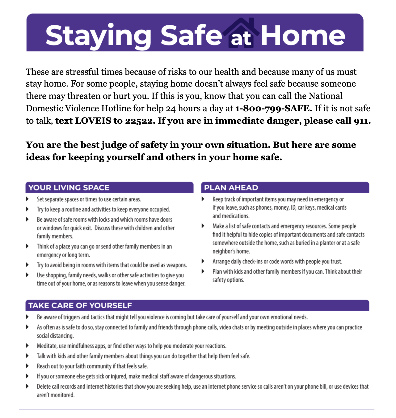 The English language version of the Staying Safe at Home