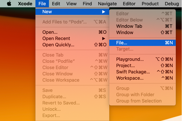 Create new project in Xcode