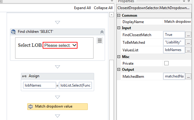 UiPath Custom Activity — Choosing Closest matching item in Dropdown