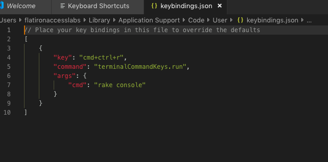 How to assign Terminal commands onto keybindings in VS Code