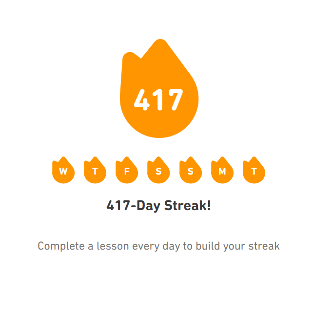 A screenshot of my Github streak — 417 days