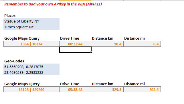 Google Maps Drive Time & Distance… in Microsoft Excel on