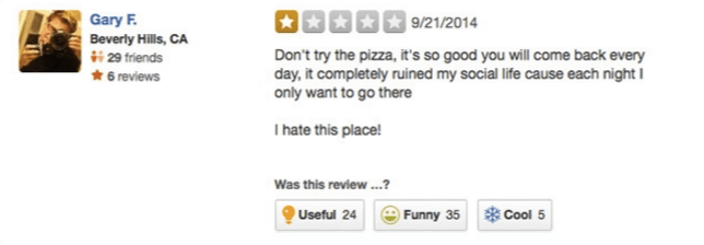 person left 1 star yelp review that the pizza was so good they kept coming back and ruined their social life