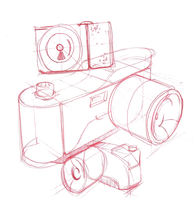 Sketches of cameras with a red pen