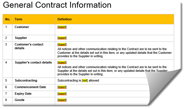 Picture of template contract with fields marked