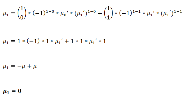 Figure 26: First central moment in terms of raw moments. | Moment Generating Function for Probability Distribution with Pytho