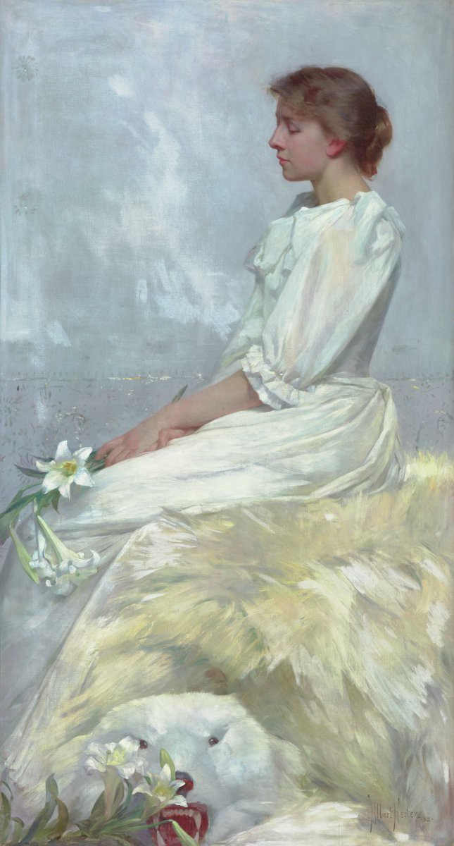 Vertical painting in shades of white depicting a woman seated in profile holding a flower.