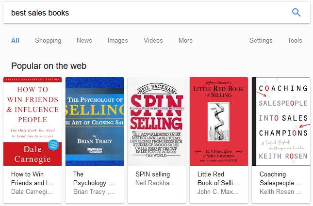 best sales books featured snippet