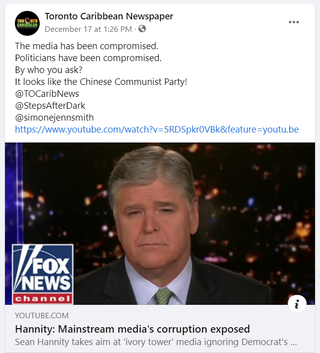 A Facebook post from Toronto Caribbean News sharing a Sean Hannity video and tagging their media personalities.