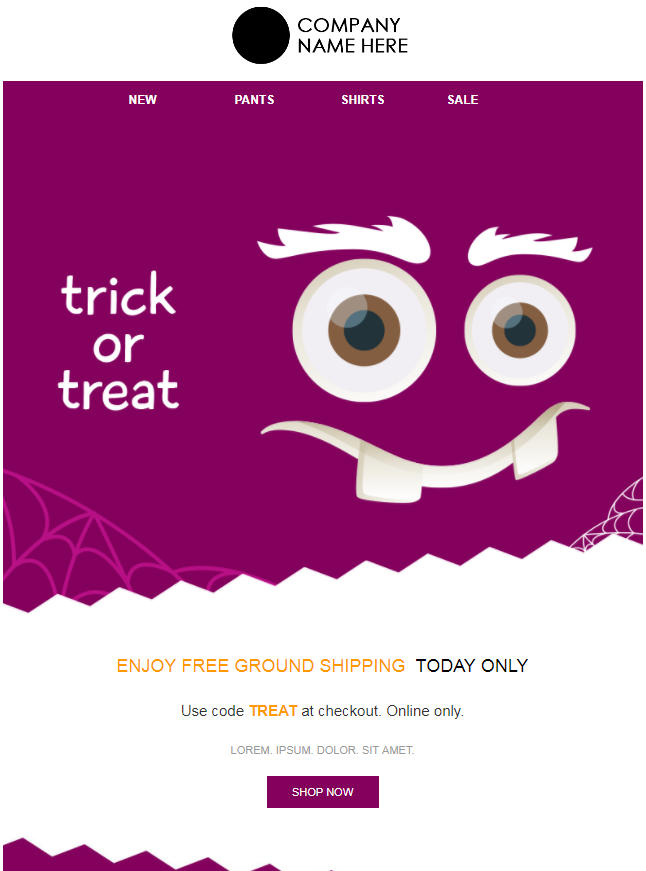 Halloween Email Campaign Design - Purple Monster