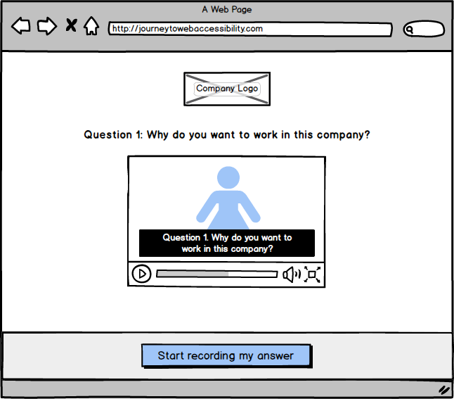 An example of a web interface that allows users to control volume while a video is being played