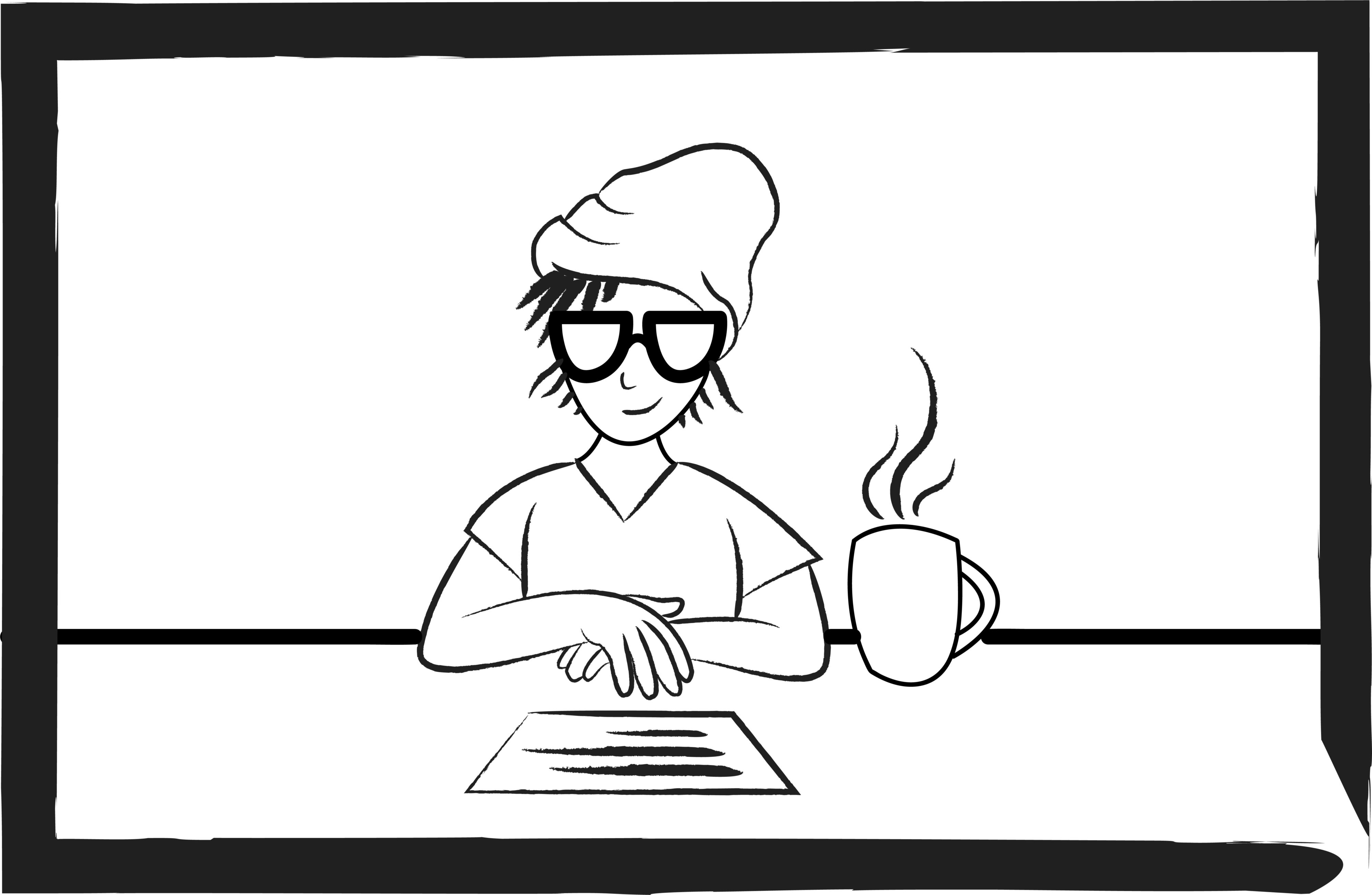 Black and white doodle of a person in glasses, toque, short hair, with writing in front on a desk and mug of coffee.
