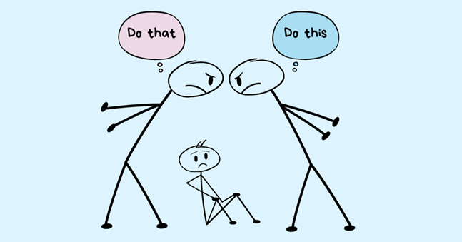Two stick figures fighting. One watching.