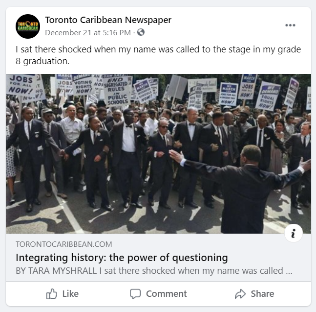 """""""Integrating history: the power of questioning"""", an article shared on Facebook by Toronto Caribbean News."""