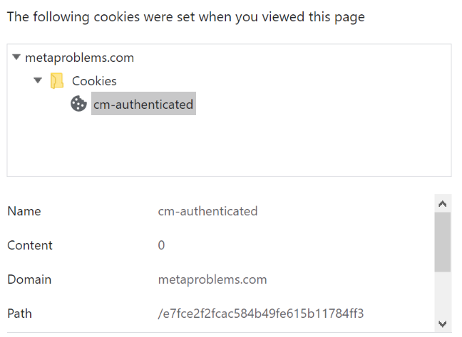 A screenshot of Chrome's cookie manager