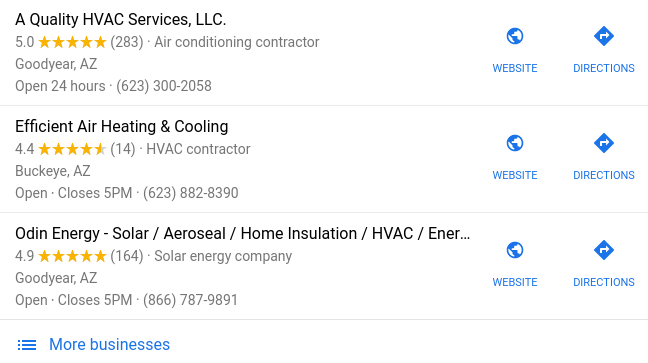 Local Google Search results for choosing the best HVAC company.
