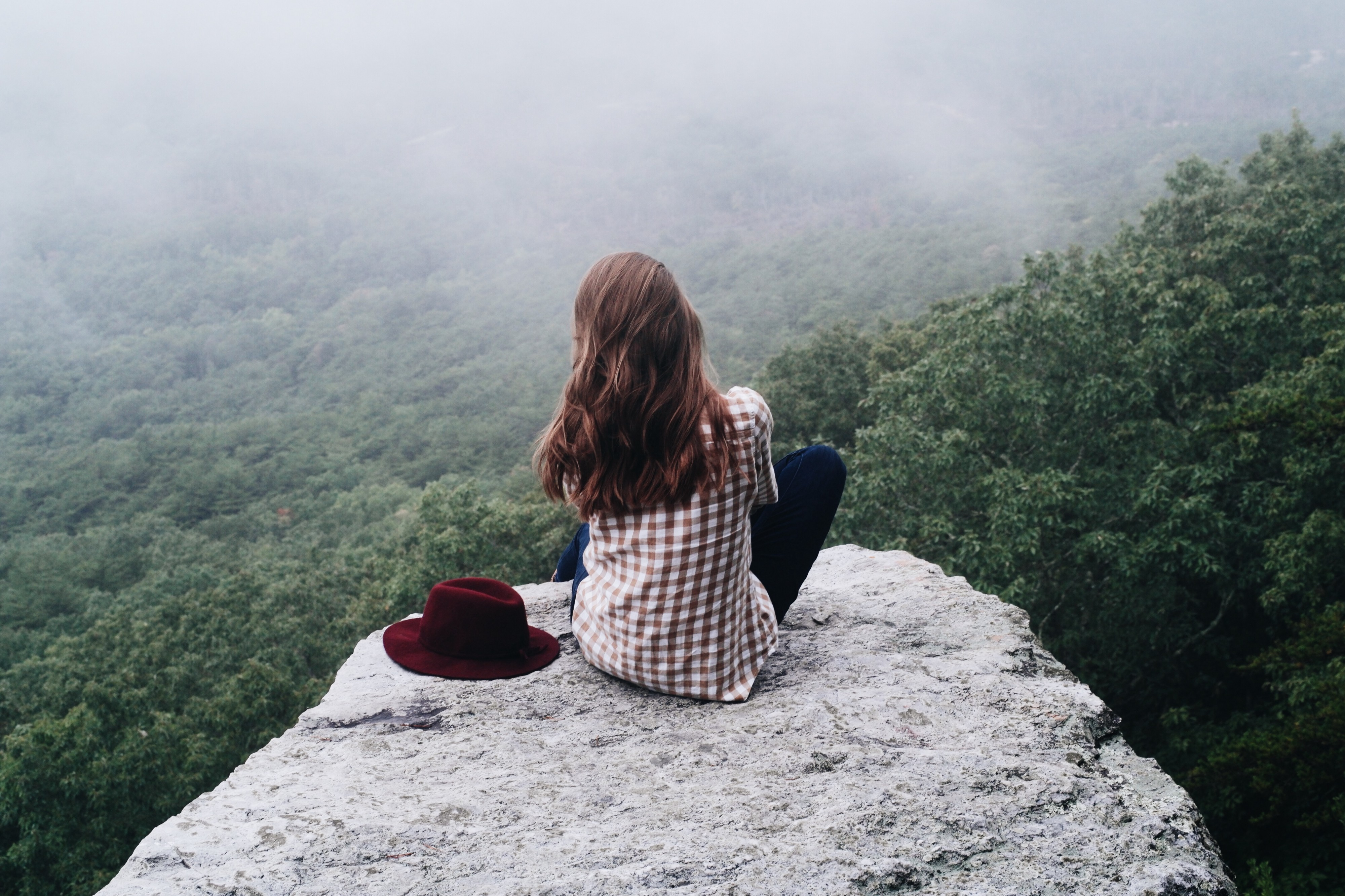Woman sitting on a rock overlooking a forest.