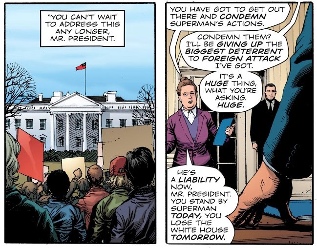 "Donald Trump being told to bring in Superman. ""Huge"" reference. ""Huge!"""