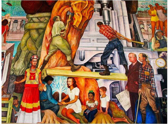 One of the ten-panel Diego Rivera mural Pan American Unity, 1940