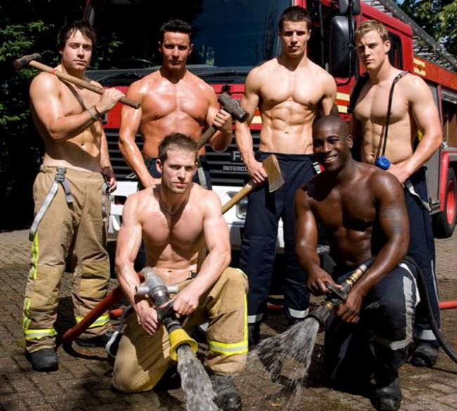 Six sexy firemen pose with tools and hoses out, and no shirts on.