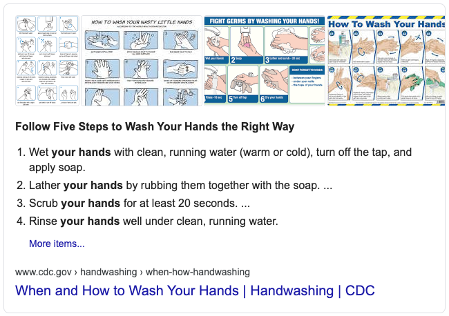 "The search results for hand-washing from Google, which produces a list of the ""Five Steps"" for washing hands"
