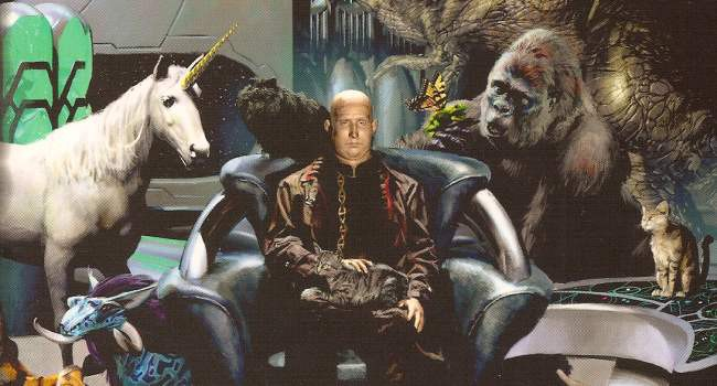 Gold skinned man sitting on SF throne with a unicorn over left shoulder, a gorilla over right and several cats. Source: https://amazingstories.com/2013/10/bad-science-fiction-fantasy-art/