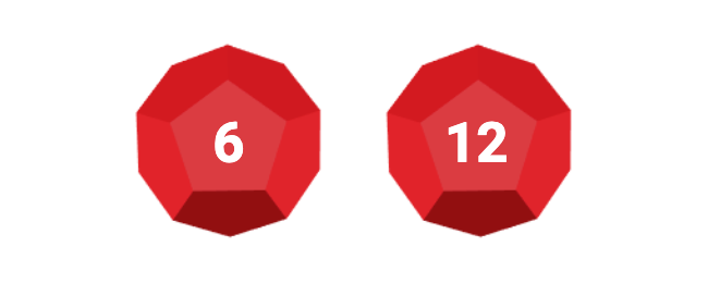 Two dices made of ruby each with 12 sides; first dice shows a 6; second dice shows a 12.