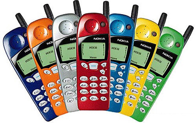 Image of colorful old Nokia phones