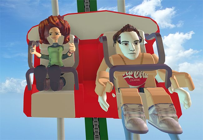 Two player avatars sit beside each other on a roller coaster. They look completely different and are very unnatural, a little bit scary.