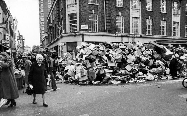 Rubbish piling up in the streets of London during the winter of discontent