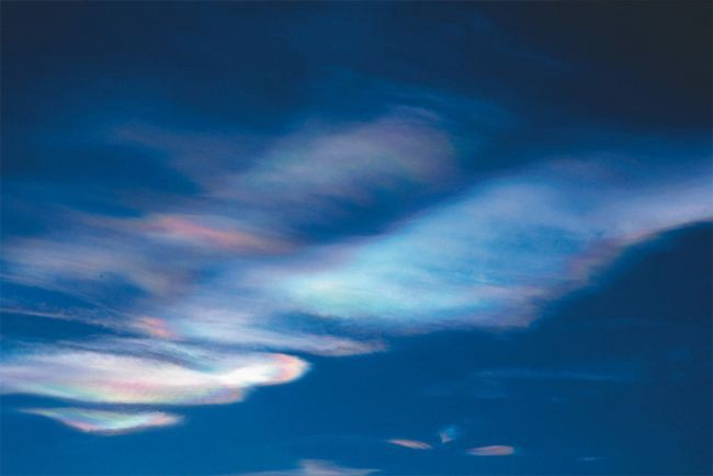 Polar Clouds Frozen Nitric Acid and Sulfiric Acid when temps in the stratosphere are below -180 degrees