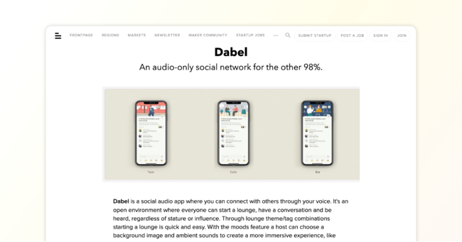 The featured page of Dabel on BetaList.com.